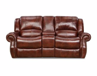 Picture of Softie - Oxblood Reclining Console Loveseat