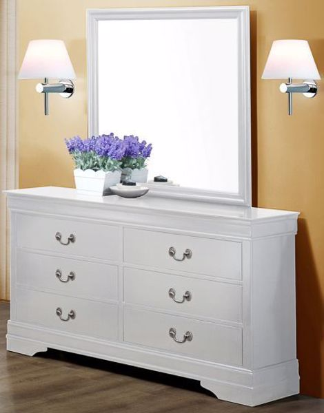 Picture of Louis Philip - White Dresser & Mirror