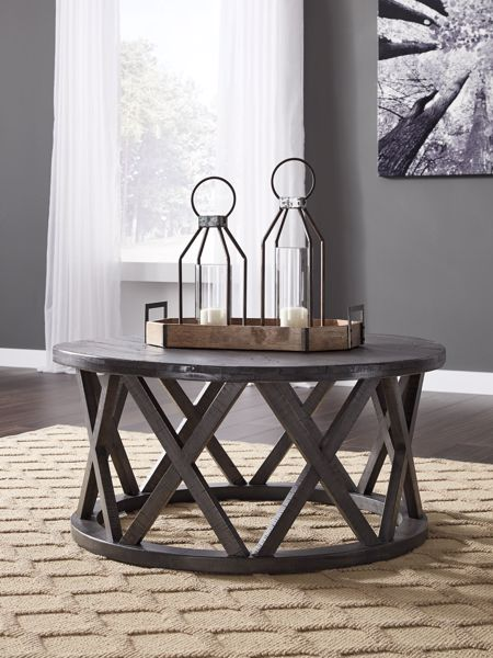 Picture of Sharzane - Gray Round Cocktail Table