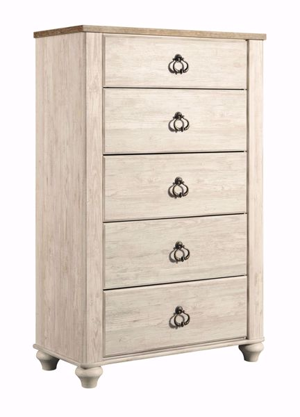 Willowton White 5 Drawer Chest Kimbrell S Furniture