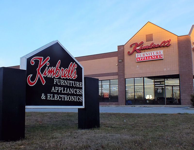 Entrance to Kimbrells Furniture in Asheboro, NC