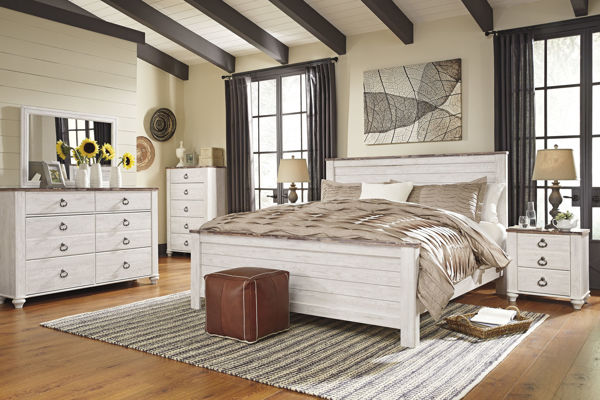 Picture of Willowton - White King Panel Bed